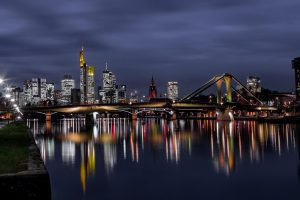 Skyline Frankfurt at the Main to night
